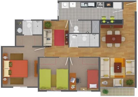 Plano de departamento moderno de 3 dormitorios