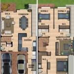 Plano de vivienda de 2 plantas con jardín trasero