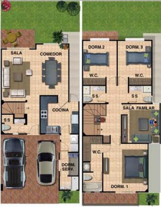 Plano de vivienda de 2 plantas con jard n trasero for Casa de 2 plantas y 3 habitaciones