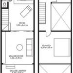 Plano para casa angosta en dos pisos y 65 m2