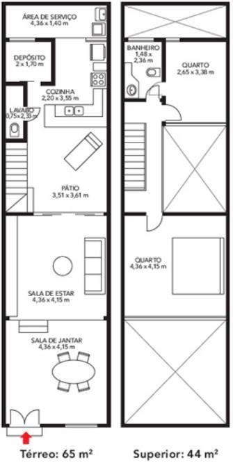 Plano para casa angosta en dos pisos