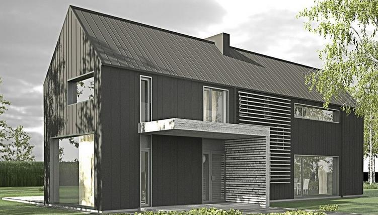 Casa angosta y larga con techo de chapa
