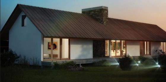 Fachada de casa con galeria planos de casas for Casas alargadas