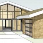 Plano de casa rústica de 3 dormitorios, 2 baños y un gran techo