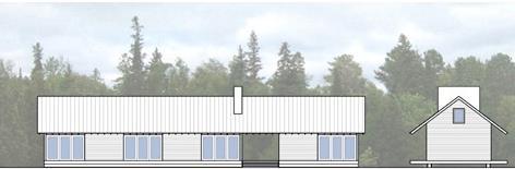 Corte de casa de una planta, con 80 metros cuadrados y galería