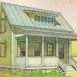 Plano de casa pequeña de 2 habitaciones y 2 pisos