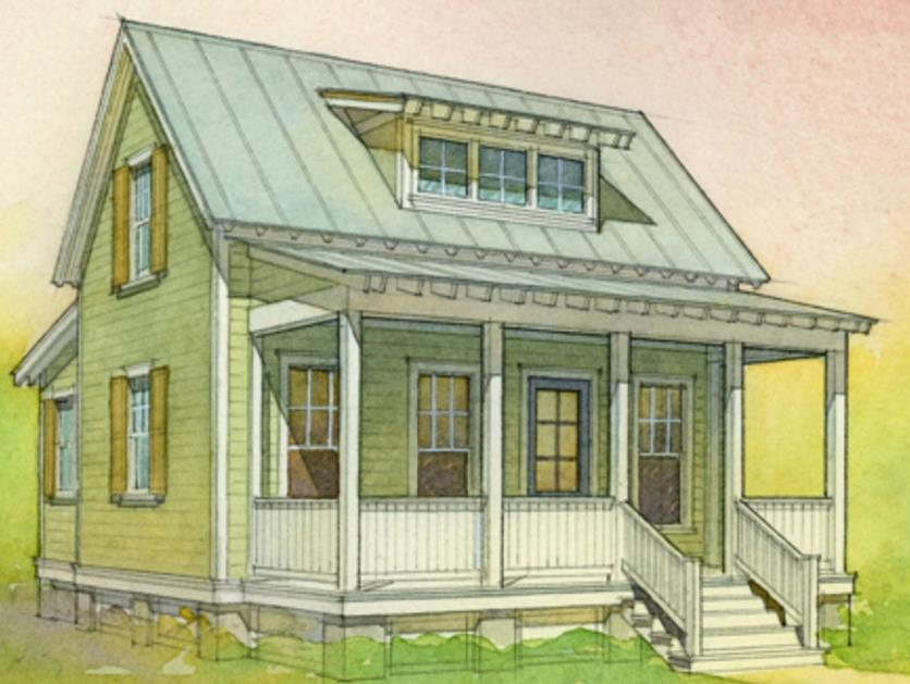 Plano Y Fachada De Casa Pequena De 1 Habitacion Bano Y