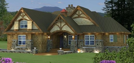 Fachada de casa rústica