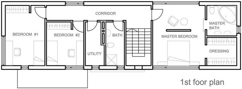 Plano de casa angosta y larga con techo de chapa