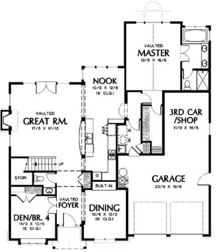 Plano de casa clásica de 4 dormitorios y 3 baños
