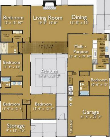 Plano de casa conceptual con atrio central