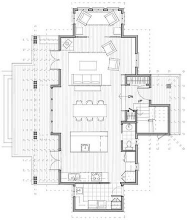 Plano de casa de 2 pisos, con 3 dormitorios y baño en suite