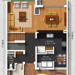 Plano de casa de 3 pisos con garaje abierto