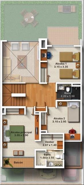 Planos casa de 2 pisos garaje terreno 6 12 mts planos de for Planos de casas medianas