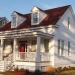 Plano de casa de 4 dormitorios con porche frontal