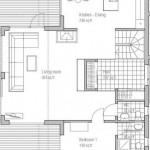 Plano de casa de dos plantas y un dormitorio en la parte inferior