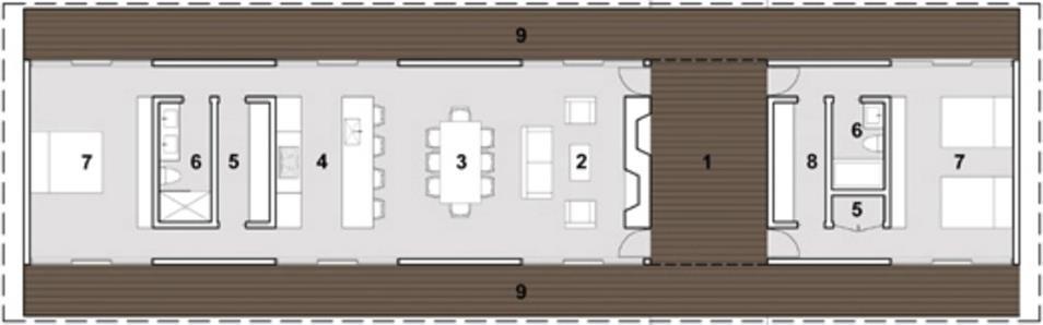 Plano de casa de una planta, con 80 metros cuadrados y galería
