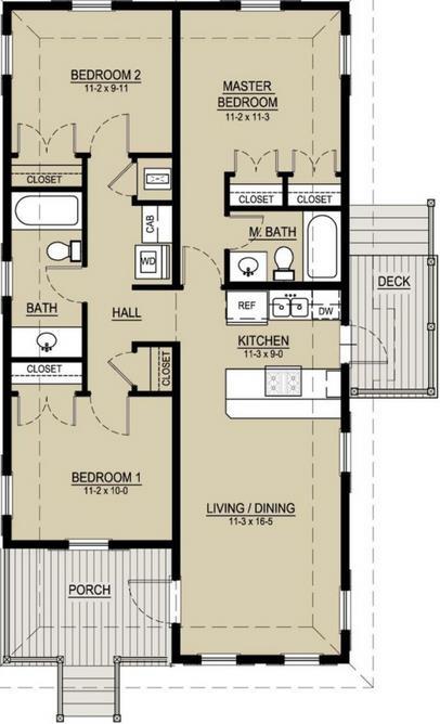 Plano de casa elevada de 3 dormitorios y 1 piso