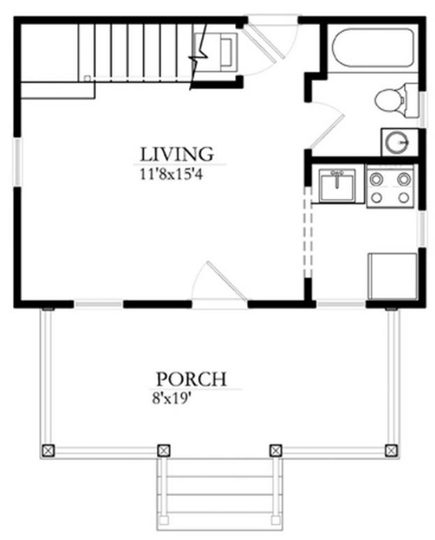 Plano de casa peque a de una habitaci n y 1 ba o for Planos de cocinas 4x4
