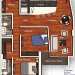 Plano de vivienda gratis con 2 habitaciones