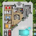 Plano para casa de 3 dormitorios con cocina moderna