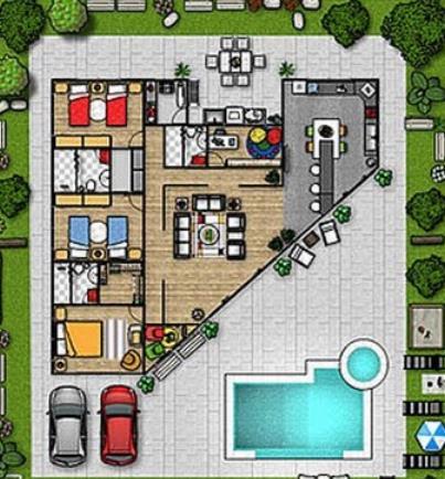 Piscina con un container planos de casas for Plano casa moderna 3 habitaciones