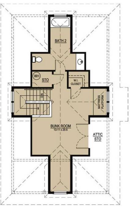 Plano para casa de 3 dormitorios y 2 pisos