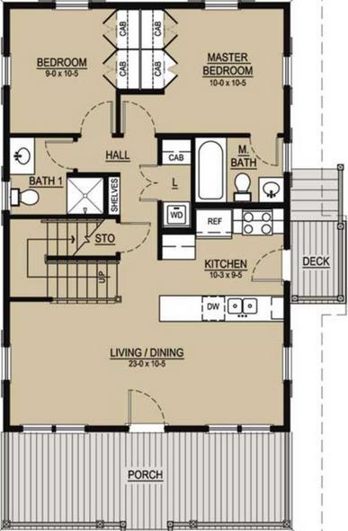 Plano para casa de 3 dormitorios y 2 pisos con fachada bonita