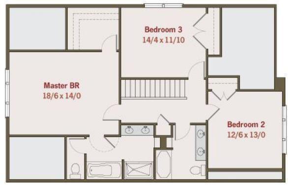Diseno De Baños Normales:Plano de casa moderna de tres dormitorios y dos baños