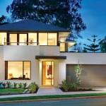 Plano de casa moderna con 4 dormitorios, garaje y 3 baños
