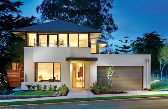 Fachada de casa moderna con 4 dormitorios, garaje