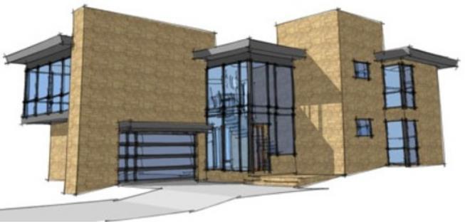Fachada de casa moderna en 2 pisos y con garaje