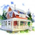 Plano de casa pequeña de 2 pisos y 2 dormitorios