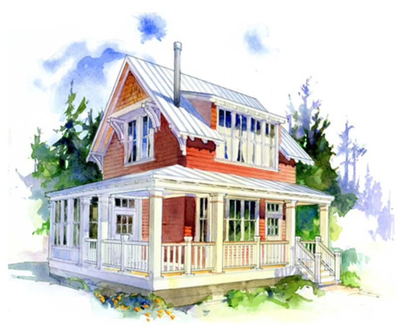 Fachada de casa pequeña de 2 pisos y 2 dormitorios