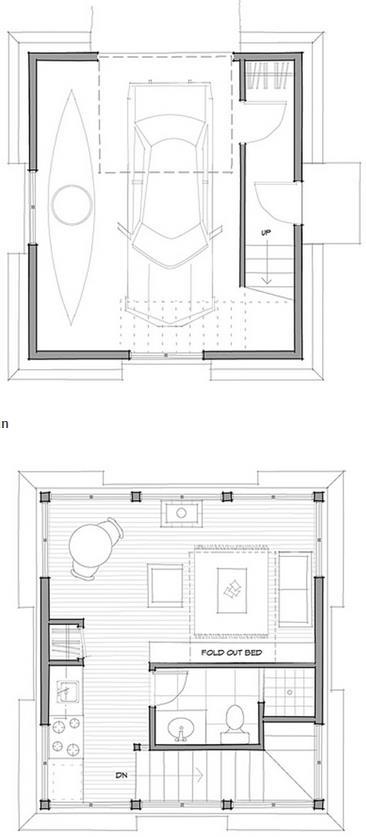 Plano de casa chica con garage en 2 pisos
