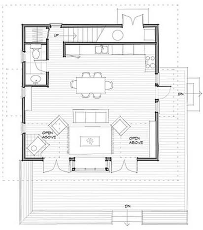 Plano de casa de 2 dormitorios, 2 pisos y techo a 2 aguas