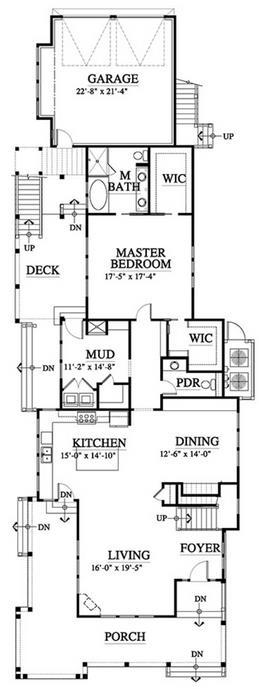 Plano de casa de 4 dormitorios y 3 pisos