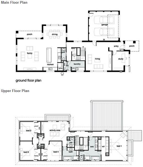 Plano de casa moderna con 4 dormitorios garaje y 3 ba os for Casas modernas 4 cuartos