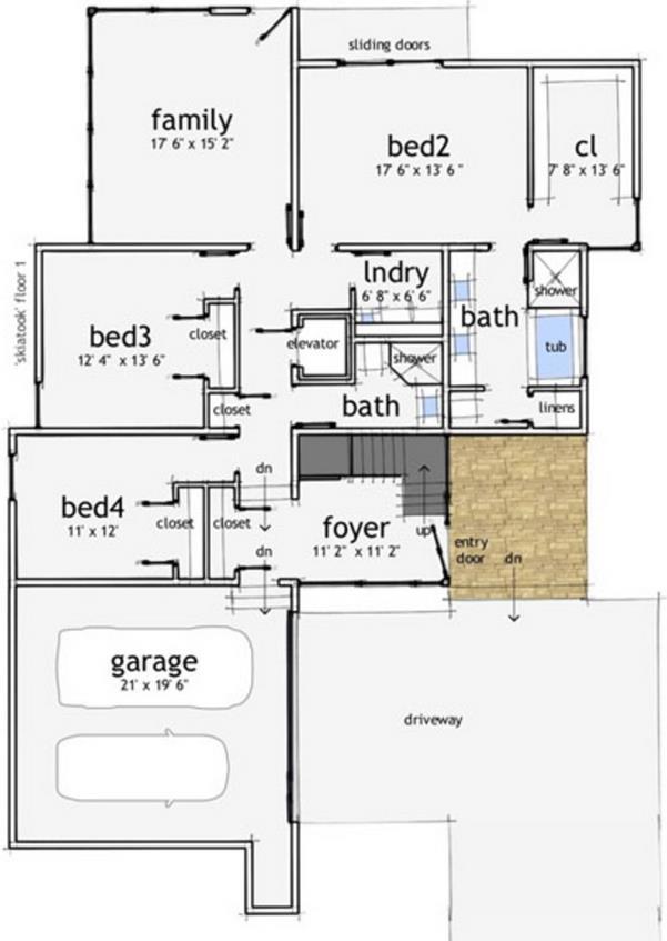 planos de casas de dos pisos con garaje lateral