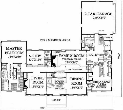 Plano de chalet inglés de 4 dormitorios y 4 baños