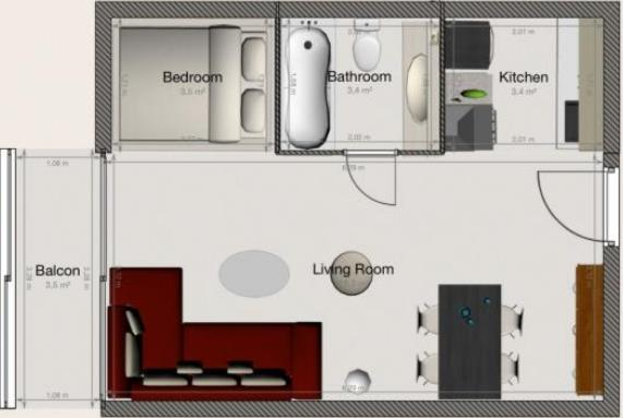Plano de monoambiente  de 45 m2 con balcón