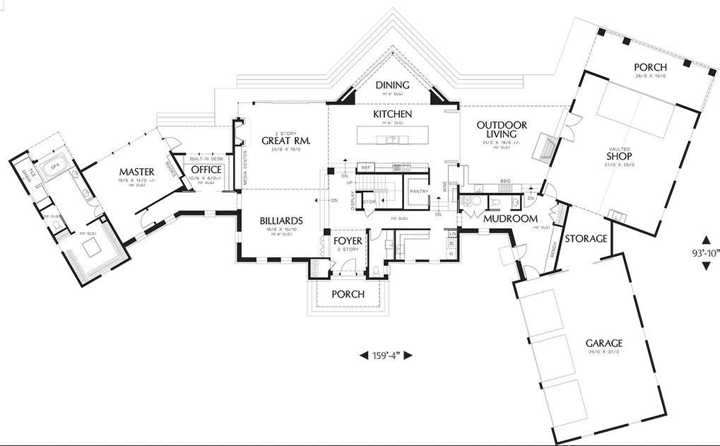 Plano de casa amplia y de lujo en 2 pisos
