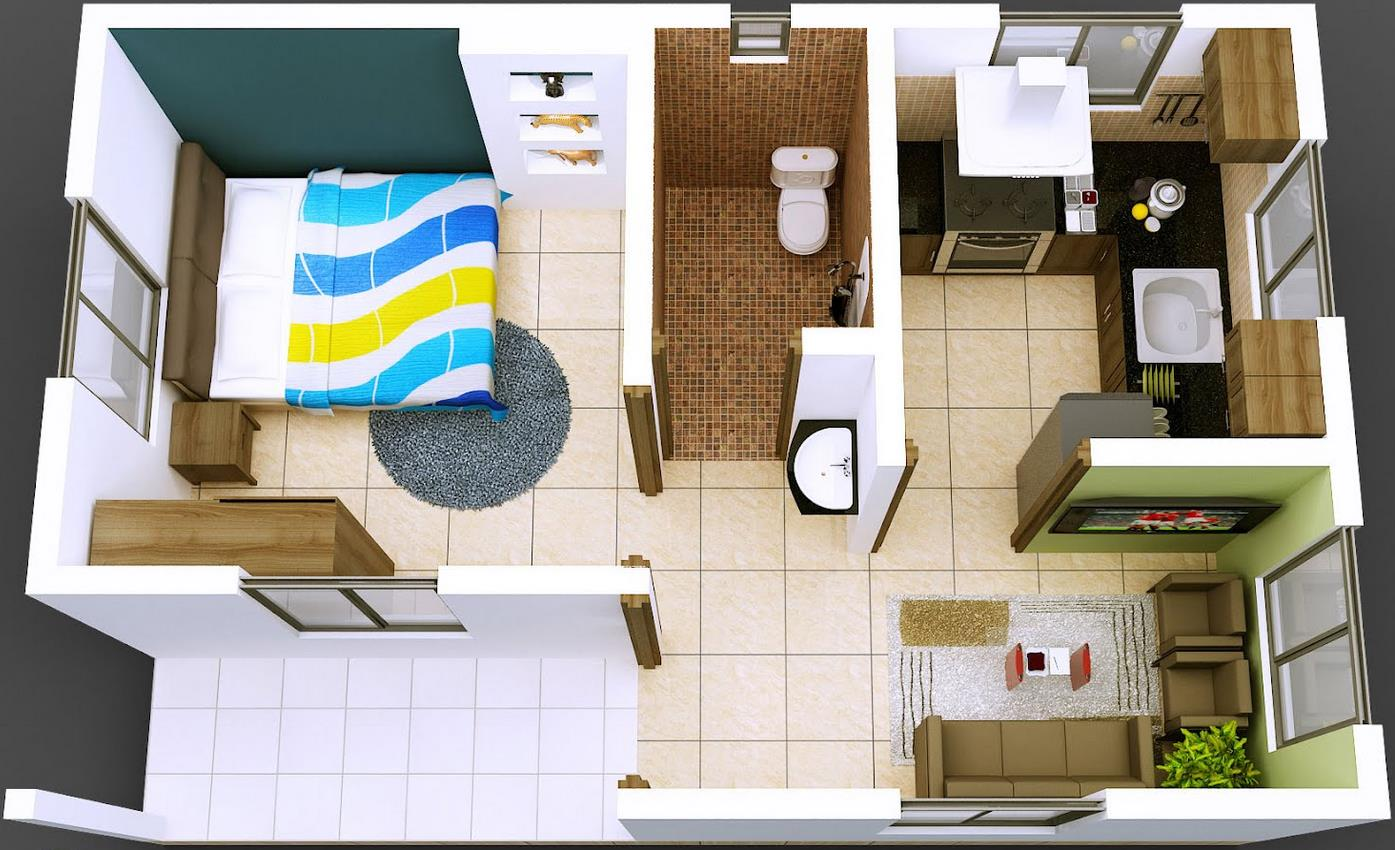 Extractor Baño Pequeno:3D Small House Floor Plans