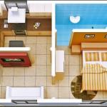 Plano de departamento moderno de 1 dormitorio en 45 metros cuadrados