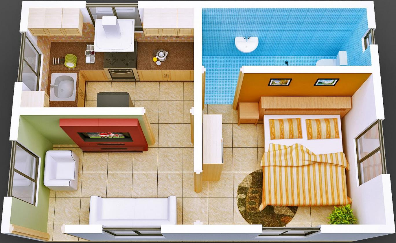Plano de departamento moderno de 1 dormitorio