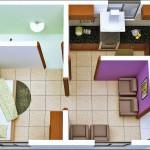 Plano de departamento pequeño de 1 dormitorio y 1 baño