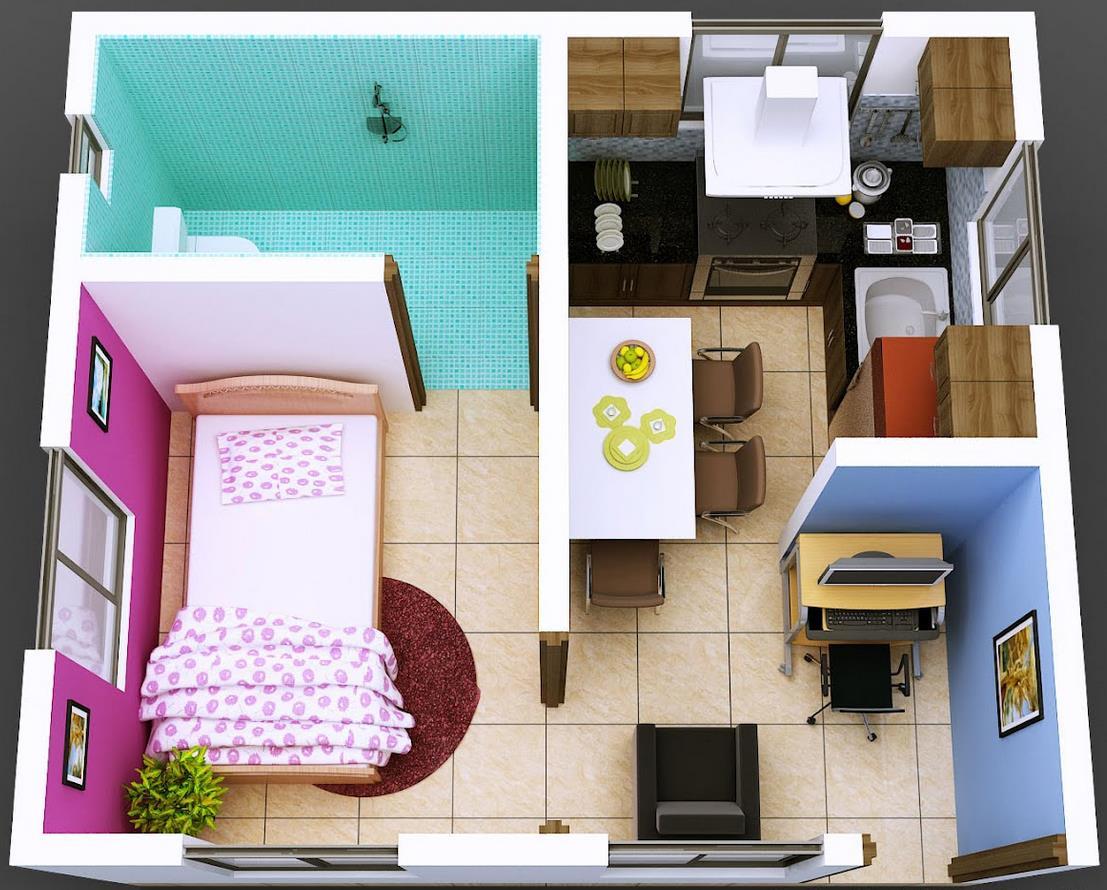 Plano de departamento pequeño de 1 dormitorio