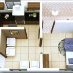 Plano moderno de departamento en 50 metros cuadrados