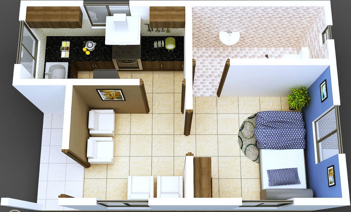 Plano moderno de departamento en 50 metros cuadrados for Maquetas de apartamentos modernos