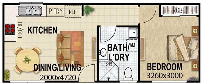 Plano de casa angosta y larga con 1 dormitorio - Casas estrechas y largas ...